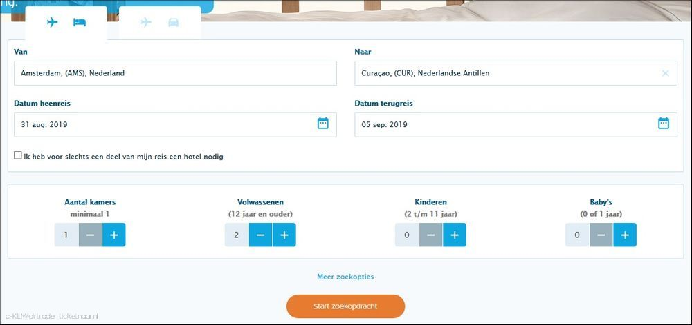 KLM package deals boeken